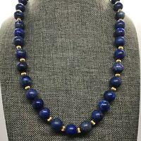 "Vtg Estate Lapis Lazuli Gold Tone Ribbed Space Bead Necklace 20"" 72g"