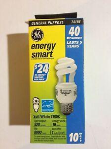 GE Energy Smart~ CFL~ Soft White~  Spiral Bulb~10 Watt/40 Watt~ FLE10~520 Lumens