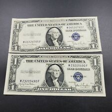2 Note LOT 1935 D Wide & Narrow Variety $1 Silver Certificate Blue Seal CH VF XF