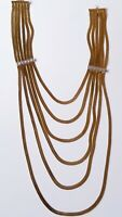 VTG Multi Strand 5 Chain Necklace 80s Egyptian Herringbone Nice Quality Goldtone