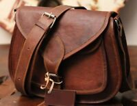 Women's Vintage Genuine Brown Leather Messenger Shoulder Cross Body Bag