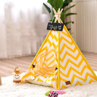 PLAYDO New Small Pet Yellow Teepee Dog Bed Portable Pet House Kitten Kennel Tent