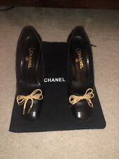 Chanel Black Leather Pumps Shoes Heels Beige Bow 39.5