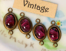 #927E Vintage Connectors Dangles Drops Red Findings Burgundy Drops Glass NOS