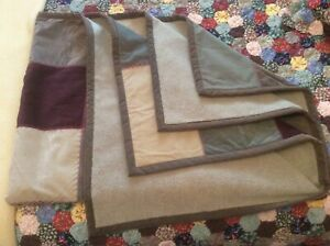 Vintage Woolrich Throw Blanket 50 x 68 - PatchWork Corduroy & Faux Leather - NEW