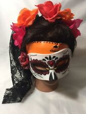 Claires Night Of Dead Mask And Headpiece Veil Roses Halloween Theater Costume