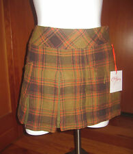 Chulo Pony Plaid pleated school girl style Green skirt extra small 45% wool