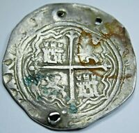 1600's Spanish Silver 2 Reales Piece of 8 Old Two Bits Pirate Treasure Cob Coin
