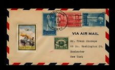May 2 1937 Honolulu Hawaii Cover w/ Scott #C4 & Patriotic Label Beautiful Cover