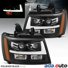 2007-2014 Chevy Suburban/Tahoe/Avalanche Polished Black DRL Projector Headlights