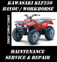 Kawasaki KLF250 ATV KLF 250 Service Maintenance Repair Tune-Up Rebuild Manual