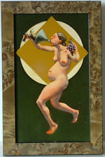 SURREAL KVIUM STYLE FEMALE NUDE w FUNNEL RABBIT GRAPES THE UNCANNY OIL PAINTING