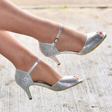 Ladies Silver Glitter Heels Ankle Strap Sandals Strappy Shoes Dressy Sandal Size