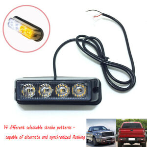 White/Amber 4 LED Strobe Light Side Marker Emergency Warning Flash Pods USA
