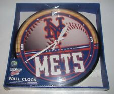 "WINCRAFT SPORTS MLB NEW YORK METS 12"" DIAMETER WALL CLOCK NEW SEALED (C) 2009"