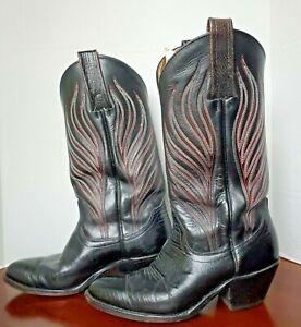 VTG FRYE Cowboy Boots Black Leather Embroidered Men 8 D Women 9.5 D 2366