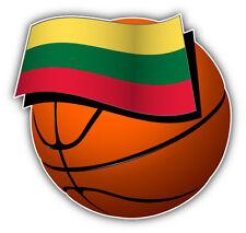 Lithuania Flag On Basketball Ball Car Bumper Sticker Decal 5'' x 5''
