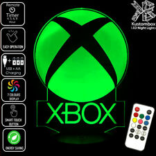 XBOX GAMING GAMES LOGO 3D LED BATTERY USB NIGHT LIGHT 7 COLOURS + REMOTE CONTROL