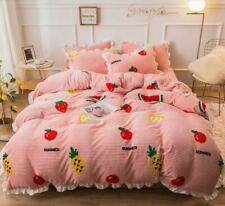 Strawberry Flannel Comfort Bedding Set Duvet Cover Bed Sheet Sets Four-piece New