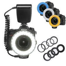 Macro LED Ring Flash Light 3000~9000K+8 Adapter Rings For Canon Nikon Hot Shoe