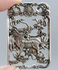 China .580 Miao Silver handmade Dragon pendant/amulet - Qing Dynasty 19th C