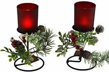 Set Of 2 Mantle Piece Pair Red Holly Berry Christmas Candle Holders