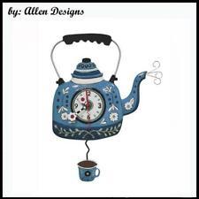 Gorgeous KETTLE BLUE Kettle Designer Pendulum Wall Clock by Allen Designs