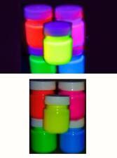 Cinq Couleur Pots de 30ml Fluorescent Haut Brille dans UV Blacklight