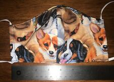 Puppy Dogs Face Mask, 2 fabric layers, fitted, reversible, reuse, adult, puppies