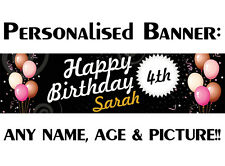 PERSONALISED BIRTHDAY PARTY PVC BANNER 2ND 8TH 40TH 50TH 16TH OUTDOOR BLACK