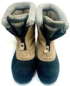 Sorel Womens Winter Boots Outdoors Suede Fleece Lined Beige Black Ellesmere II 9