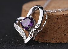 New Design Sterling Silver Love Heart Amethyst Crystal Necklace Pendant Gift A27