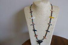 Vintage Arizona Sleeping Beauty Turquoise Zuni Animal Fetish Native  Necklace