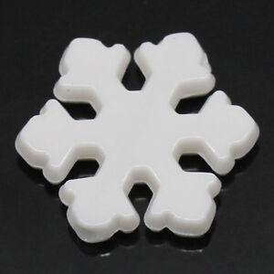 200 WHITE SNOWFLAKE CHRISTMAS ACRYLIC BEADS ~12x13mm~Craft~Tree~Bracelet (51F)UK