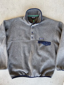 Patagonia Mens Synchilla Snap-t Fleece Pullover Medium Forge Grey NO TOP BUTTON