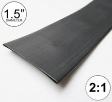 "1.5"" ID Black Heat Shrink Tube 2:1 ratio 1-1/2"" wrap (2 feet) inch/ft/to 40mm"