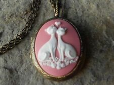 WHITE CAT (S) IN LOVE HEART CAMEO LOCKET -ANTIQUE BRONZE, VINTAGE LOOK, QUALITY