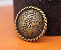 30mm 10X Retro Brass Flower Engraved Leathercraft Accessories CONCHO Screw back