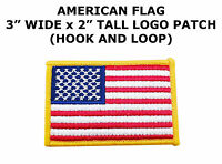 AMERICAN FLAG EMBROIDERED PATCH GOLD BORDER USA US w/ HOOK N LOOP FASTENER