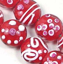 Lampwork Handmade Red Garden Lentil Beads 15mm