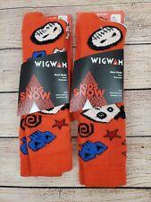 2 Pack Wigwam F2102 Snow Skully Skull Wool Blend Ski Sock Bright Orange Size YL