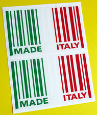 MADE IN ITALY flag BARCODE sticker decal x2 FIAT 500 PANDA ALFA ROMEO LANCIA