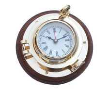 """Ship's Porthole Clock Solid Brass 10"""" w/ Wooden Base Nautical Hanging Wall Decor"""