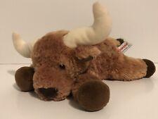 Aurora Bull Stuffed Animal • Brown Cattle Plush with Horns • Toy • Star • Farm