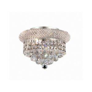 Elegant Lighting Primo 3 Light Flush, Chrome/Royal Cut Crystal - V1800F10C-RC