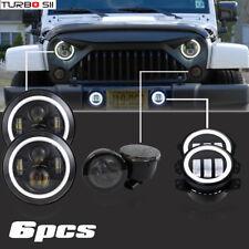 For Jeep Wrangler JK 7'' LED Headlight Turn Signal Angel Eyes Fog Lamp Combo Kit