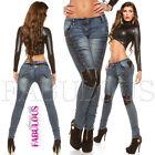 Sexy Women's Leather Detail Skinny Stretch Jeans Size 6 8 10 12 14 XS S M L XL