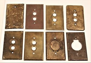 Vintage Lot of 8 Brass Push Button Electrical Switch Plate Covers Perkins 1903