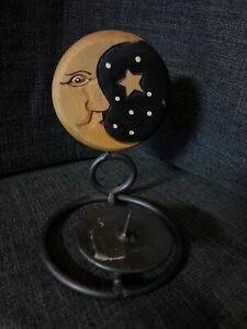 Celestial Moon and Star Wooden Candle Holder | Used in Great condition