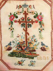 1891 Russian Orthodox Cross Embroidery Tapestry Gobelin